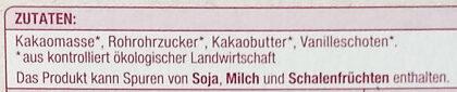 Bio schweizer Zartbitter Schokolade 70% - Ingrédients - de