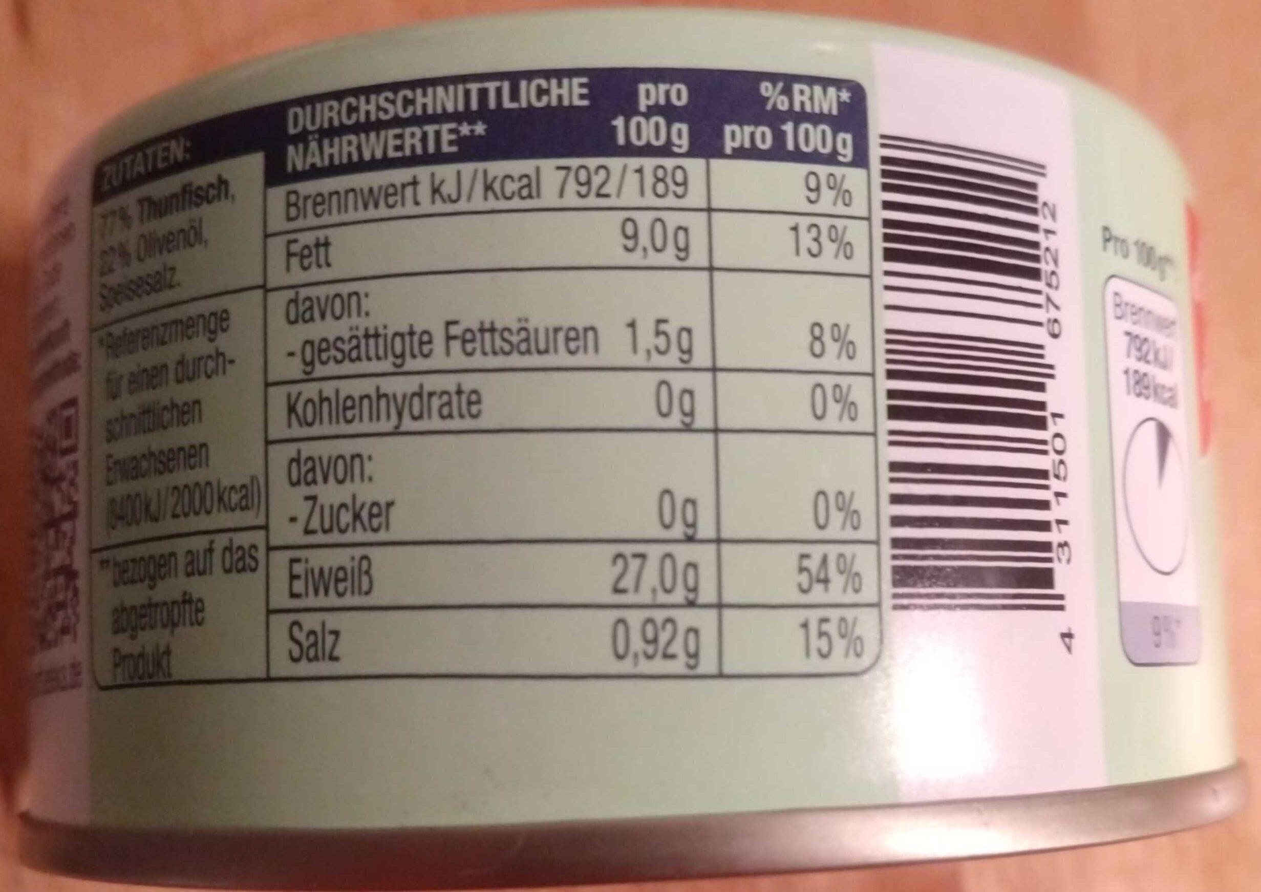 Thunfischfilets in Olivenöl - Produit - de