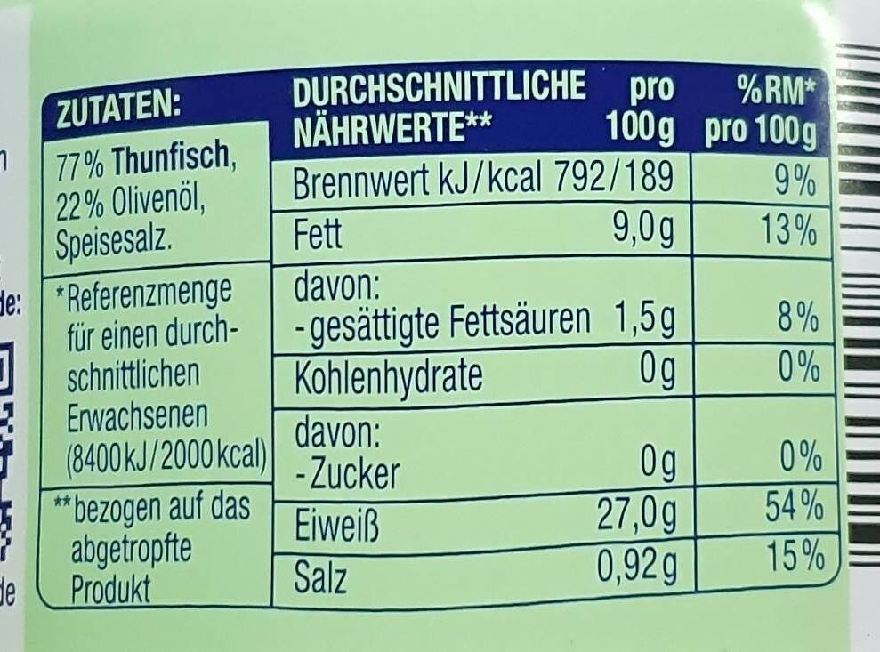 Thunfisch Filets Edeka - Nährwertangaben - de