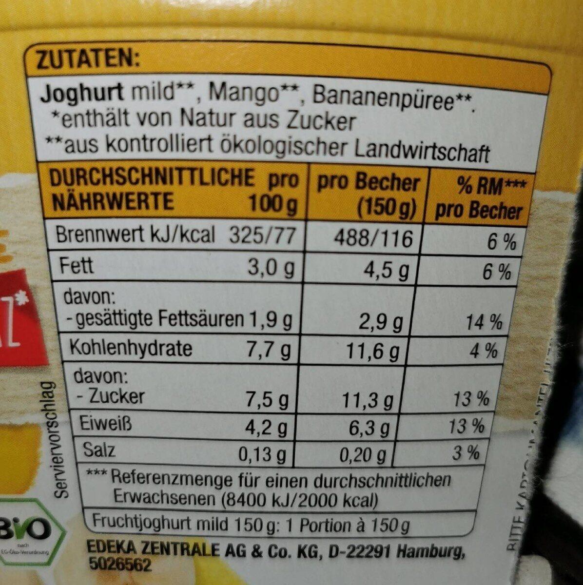Nur Frucht-Joghurt Mild Mang Banane - Informations nutritionnelles - de