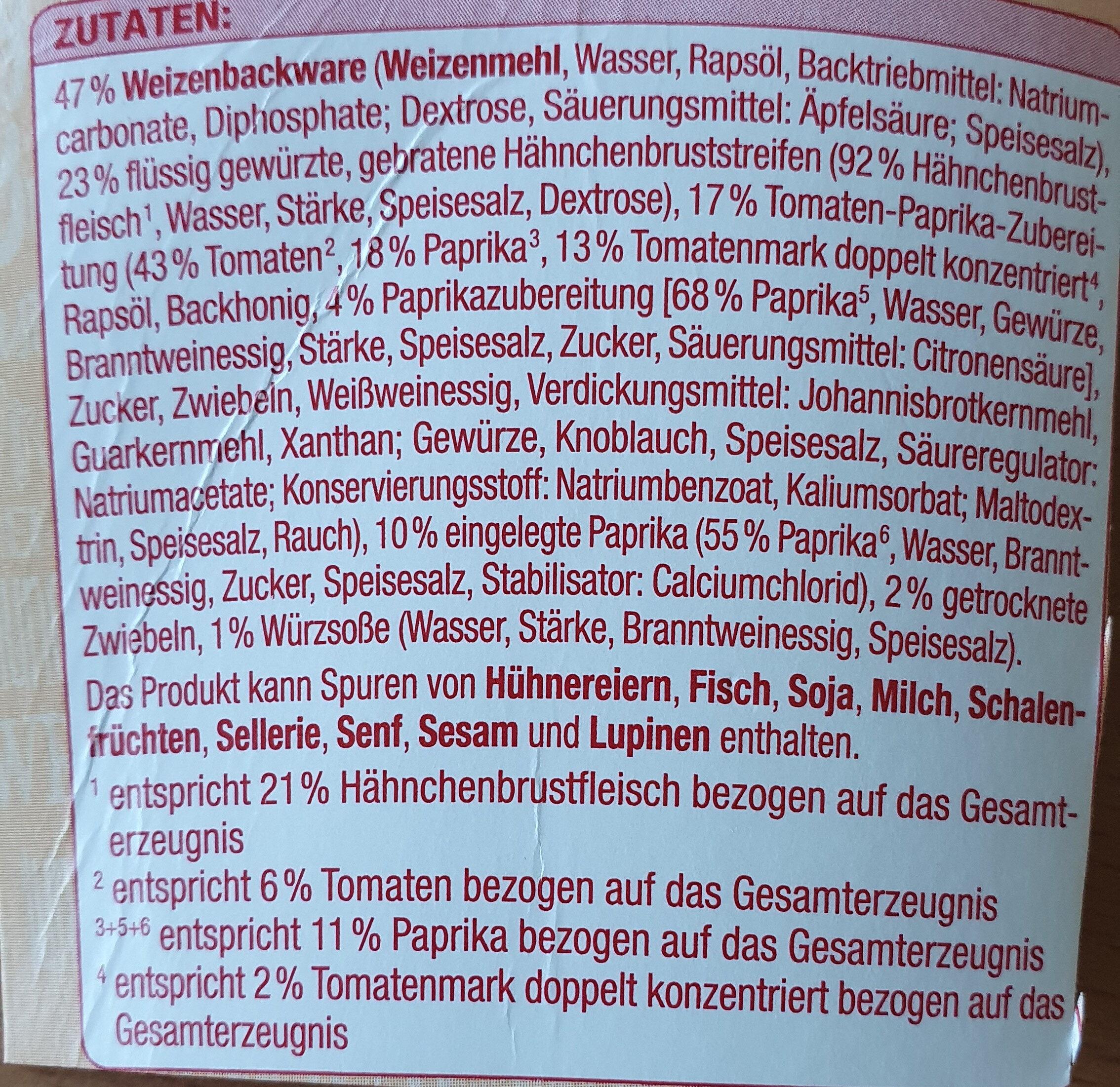Wrap To Go Paprika Hähnchen - Ingredienti - de