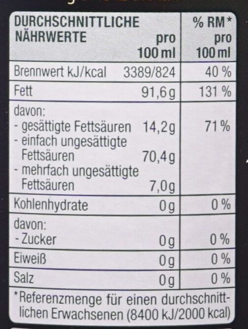 Griechisches Natives Olivenöl extra - Nutrition facts - de