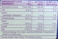 Schoko Butter-Taler - Nährwertangaben - de