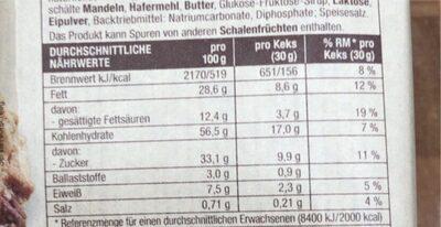 Fair Cookies-Mandel-Milchschokolade - Nährwertangaben - de