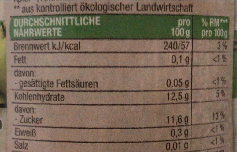 Bio Apfelmus ohne Zucker - Valori nutrizionali - de