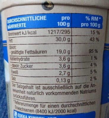 Bio-Schlagsahne - Nährwertangaben - de