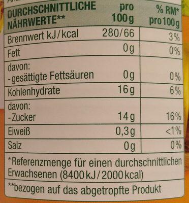 Ananas Stücke Leicht Gezuckert - Informations nutritionnelles