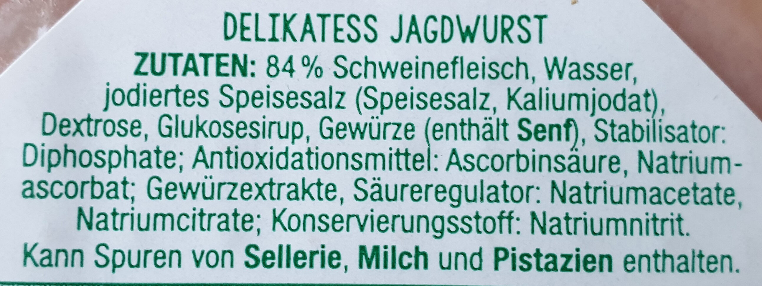 Delikatess Jagdwurst - Ingrediënten - de