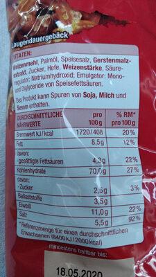 Salzbrezeln - Nutrition facts - de