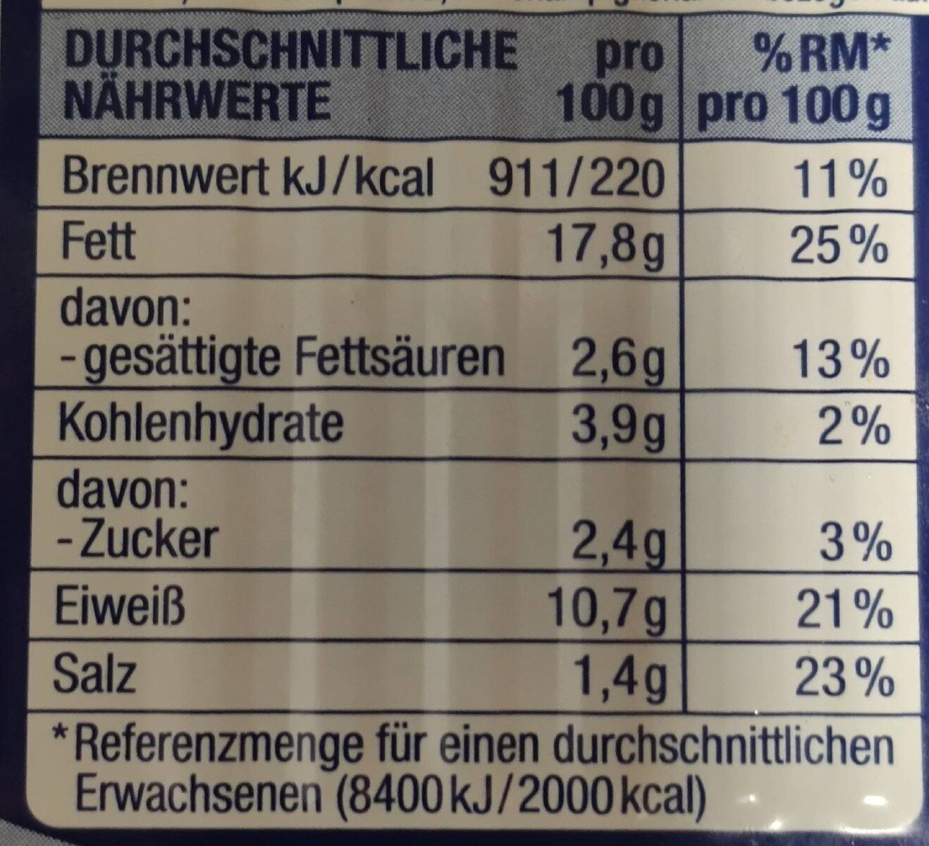 Heringsfilets in Championcreme - Valori nutrizionali - de
