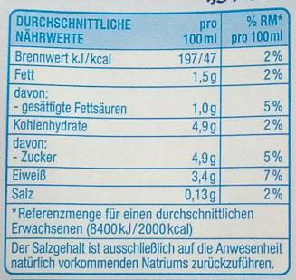 Fettarme H-Milch - Valori nutrizionali - de