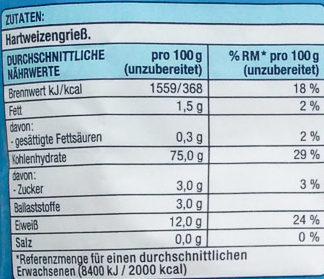 Fusilli - Informations nutritionnelles
