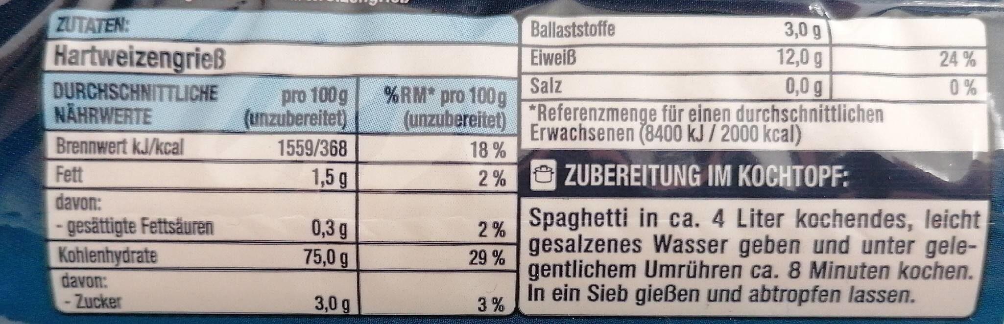 Spaghetti - Valori nutrizionali - de