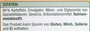 Kartoffel Püree locker - Inhaltsstoffe