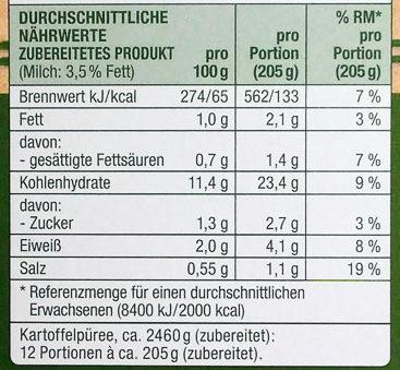 Kartoffel Kcal kartoffel püree locker gut günstig 345 g