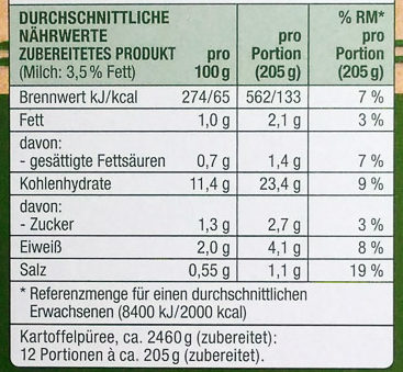 Kartoffel Püree locker - Nährwertangaben