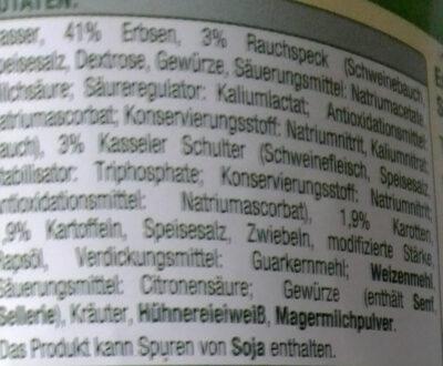 Erbsen-Eintopf mit Kasseler-Schulter und Rauchspeck - Ingrédients