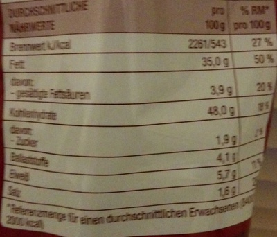 Chips Paprika - Nährwertangaben
