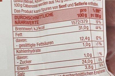 Delikatess Mini Cabanossi - Valori nutrizionali - de
