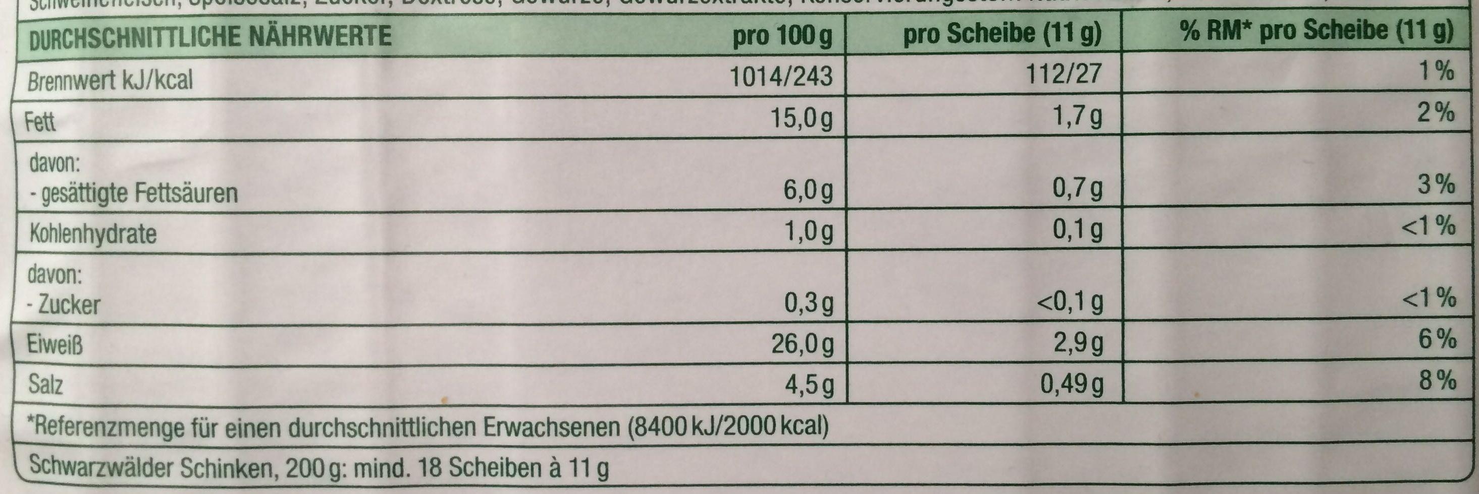 Schwarzwalder schinken - Voedingswaarden - de