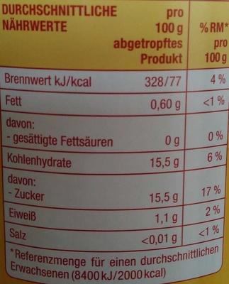 Sauerkirschen entsteint - Informations nutritionnelles - de