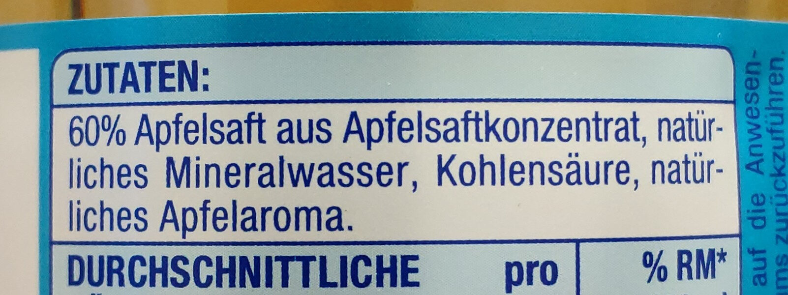 Apfel-Schorle - Ingrédients