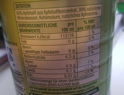 Apfel Schorle - Nährwertangaben - de