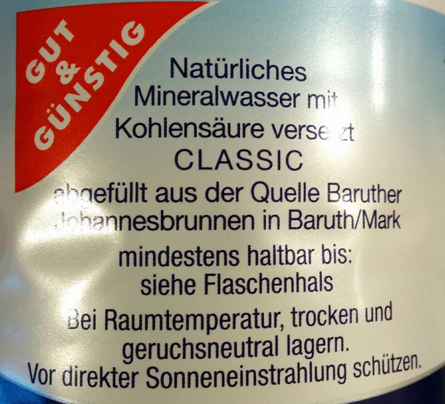 Natürliches Mineralwasser Classic - Ingredienti - de