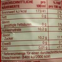 Cola American Taste - Valori nutrizionali - de