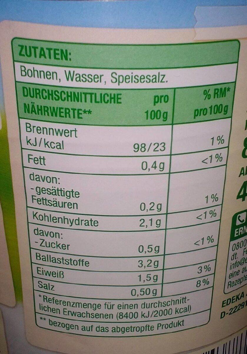 Junge Brech Bohnen - Valori nutrizionali - de