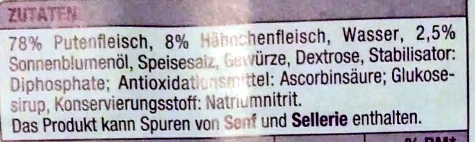 Delikatess Geflügel Roulade - Ingrediënten