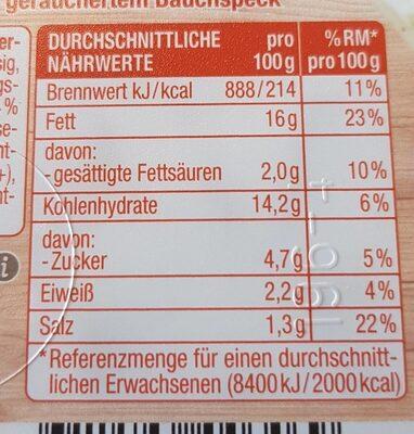 Bauern Kartoffelsalat - Información nutricional - de