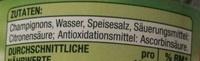 Champignons 1. Wahl in Scheiben - Inhaltsstoffe