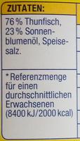 Thunfischfilets in Sonnenblumenöl - Zutaten - de
