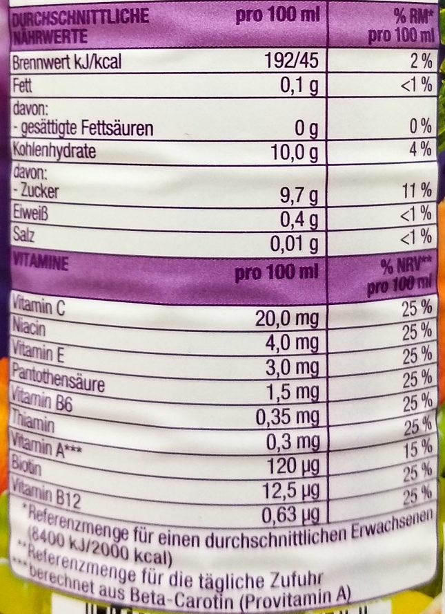 Multivitaminsaft - Voedingswaarden