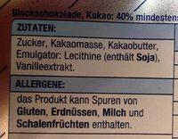 Blockschokolade - Ingrediënten - de
