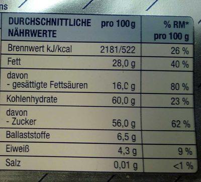 Blockschokolade - Voedingswaarden - de