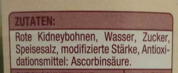 Kidney Bohnen dunkelrot - Inhaltsstoffe - de