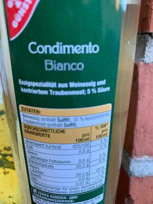 Condimento Bianco - Ingrediënten