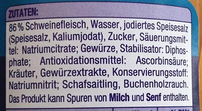 Wiener Würstchen - Inhaltsstoffe