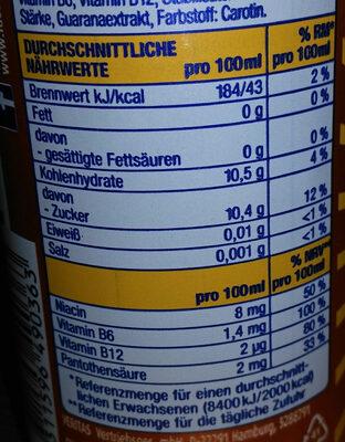 Booster Exotic Energy Drink - Nährwertangaben - de