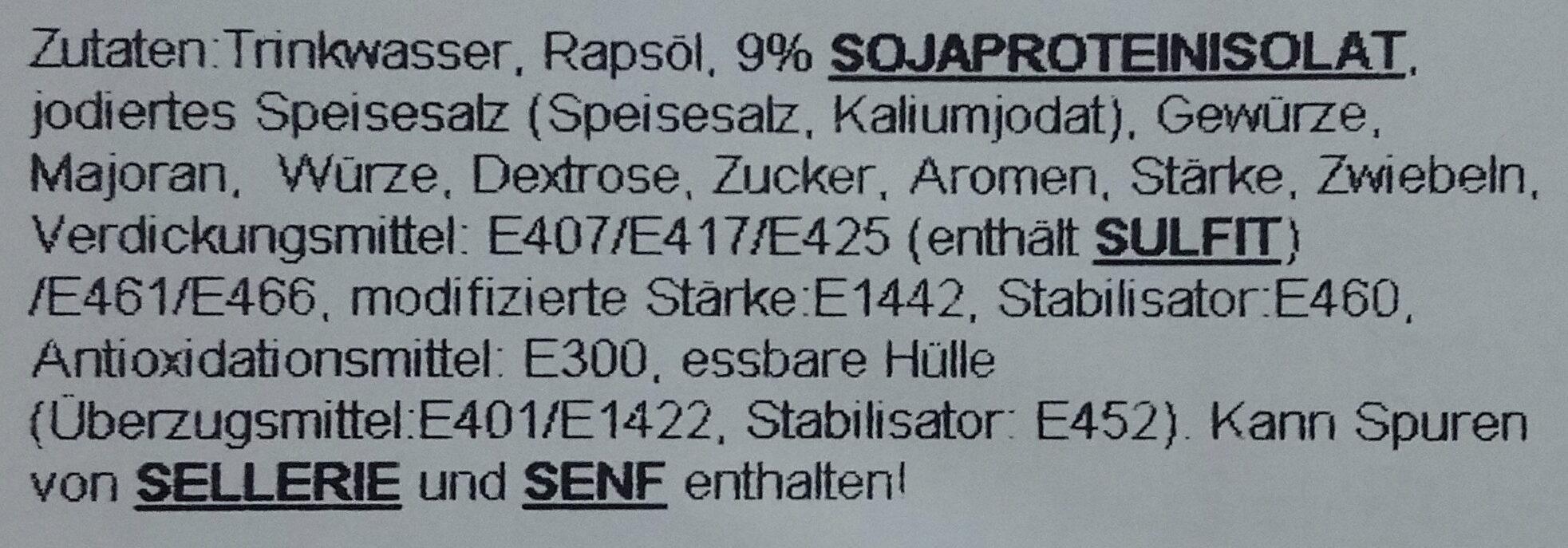 veggie bratwurst mit majoran - Zutaten - de