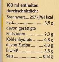 Haltbare Vollmilch - Nutrition facts