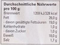 Der Cremige - Informations nutritionnelles - de