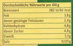 Heumilch 3,8% Fett - Nährwertangaben - de