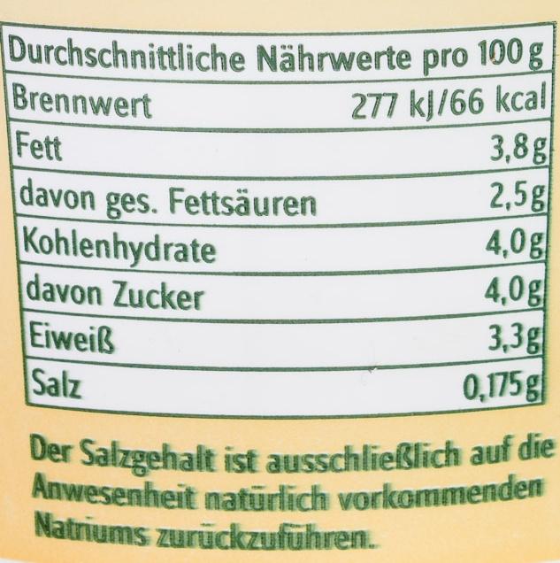 Bio-Naturjoghurt mild - Nährwertangaben - de