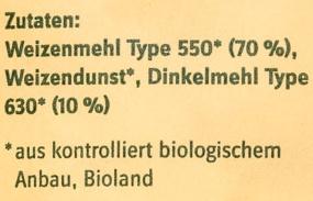 Bio-Spätzlemehl - Inhaltsstoffe