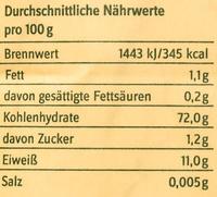 Bio-Spätzlemehl - Nährwertangaben