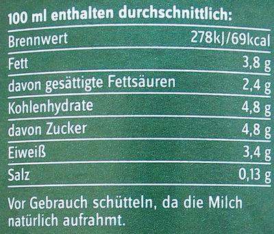 frische Bio-Heumilch g.t.S. - Nährwertangaben