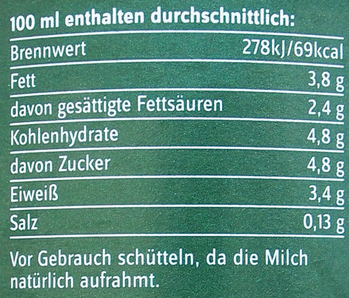 frische Bio-Heumilch g.t.S. - Informations nutritionnelles - de